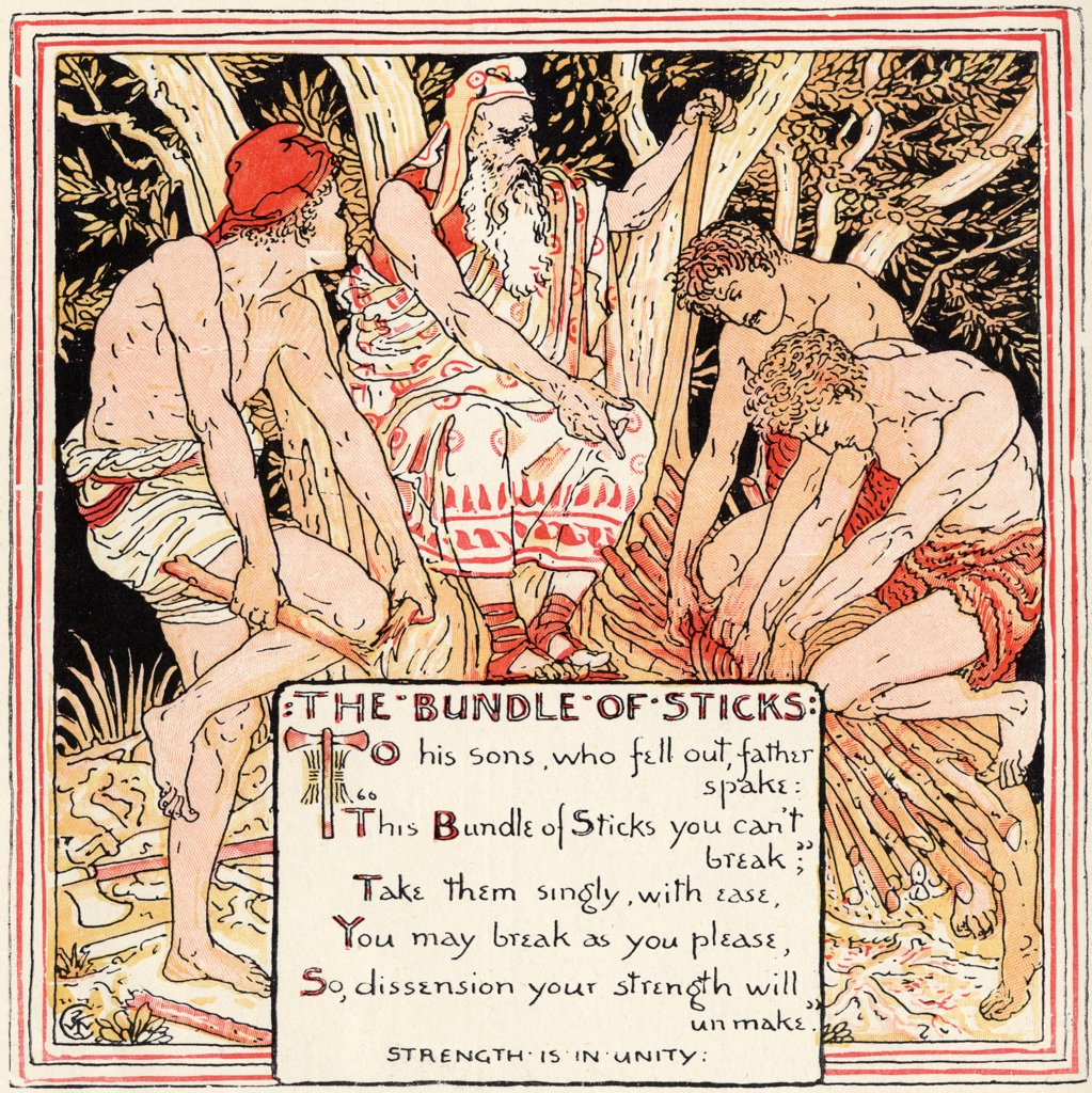 The Bundle of Sticks From the book Babys Own Aesop by Walter Crane published c1920 : Stock Photo