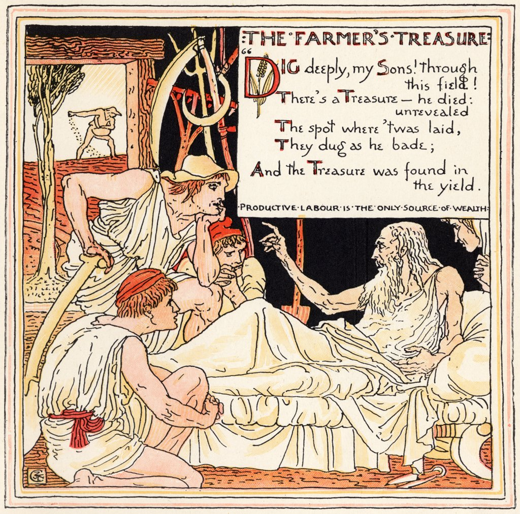 The Farmers Treasure From the book Babys Own Aesop by Walter Crane published c1920 : Stock Photo