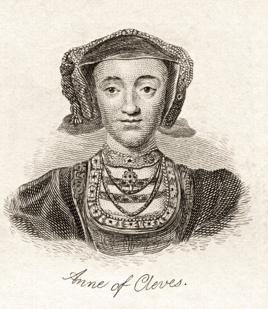Anne of Cleves 1515 -1557 Queen consort of England Fourth wife of Henry VIII From the book Crabbs Historical Dictionary published 1825 : Stock Photo