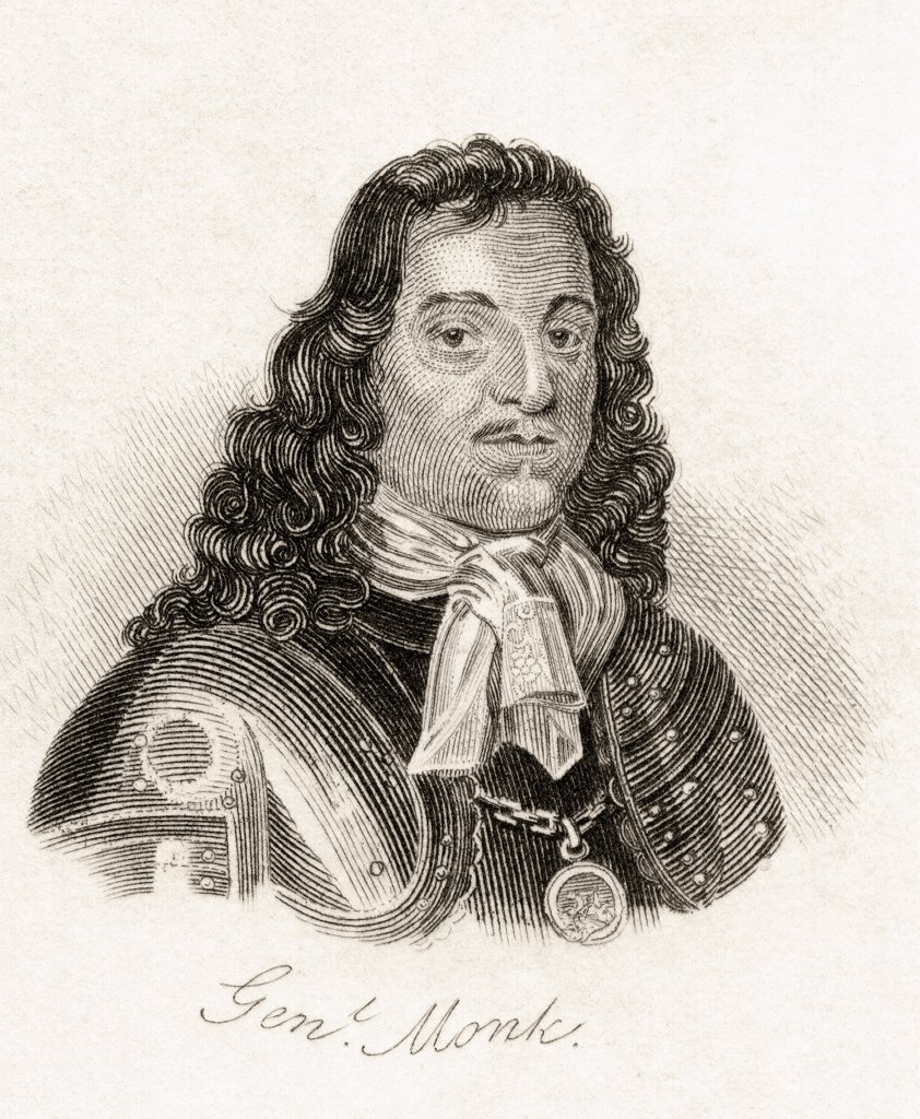 George Monck 1st Duke of Albemarle Earl of Torrington Baron Monck of Potheridge Beauchamp and Teyes 1608-1670 English general who fought in Ireland and Scotland during English Civil Wars From the book Crabbs Historical Dictionary published 1825 : Stock Photo