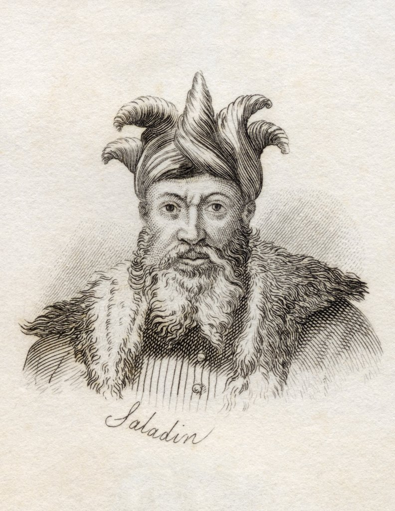 Salah ad Din Yusuf ibn Ayyub Saladin 1137 - 1193AD Sultan of Egypt and Syria Muslim political and military leader From the book Crabbs Historical Dictionary published 1825 : Stock Photo