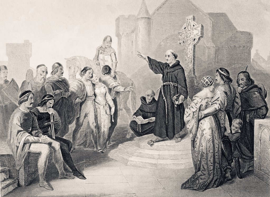 Stock Photo: 1899-38244 Preaching the Crusade in 11th century England From The National and Domestic History of England by William Aubrey published London circa 1890