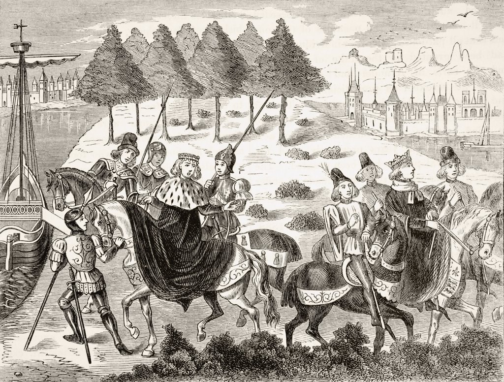 The arrest of the Duke of Gloucester 1397 From The National and Domestic History of England by William Aubrey published London circa 1890 : Stock Photo