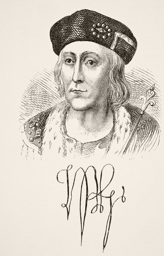 Autograph and portrait of King Henry VII of England 1457 to 1509. From The National and Domestic History of England by William Aubrey published London circa 1890 : Stock Photo