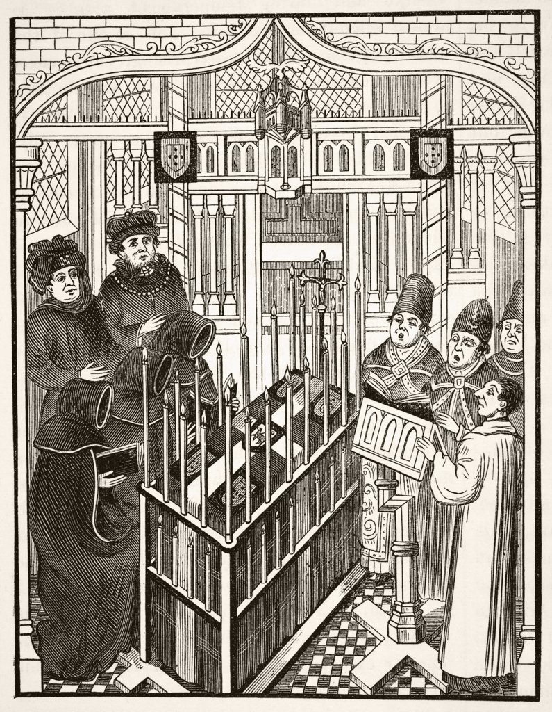 Fifteenth century funeral ceremony for an important person. From The National and Domestic History of England by William Aubrey published London circa 1890 : Stock Photo