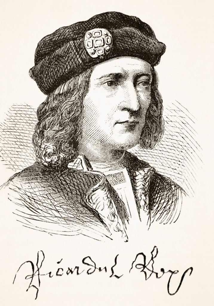 Stock Photo: 1899-38312 Portrait and signature of King Richard III of England 1452 to 1485. From The National and Domestic History of England by William Aubrey published London circa 1890