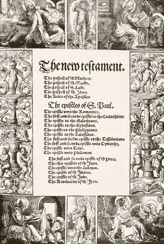 Title page of William Tyndale's New Testament printed 1530's. From The National and Domestic History of England by William Aubrey published London circa 1890 : Stock Photo