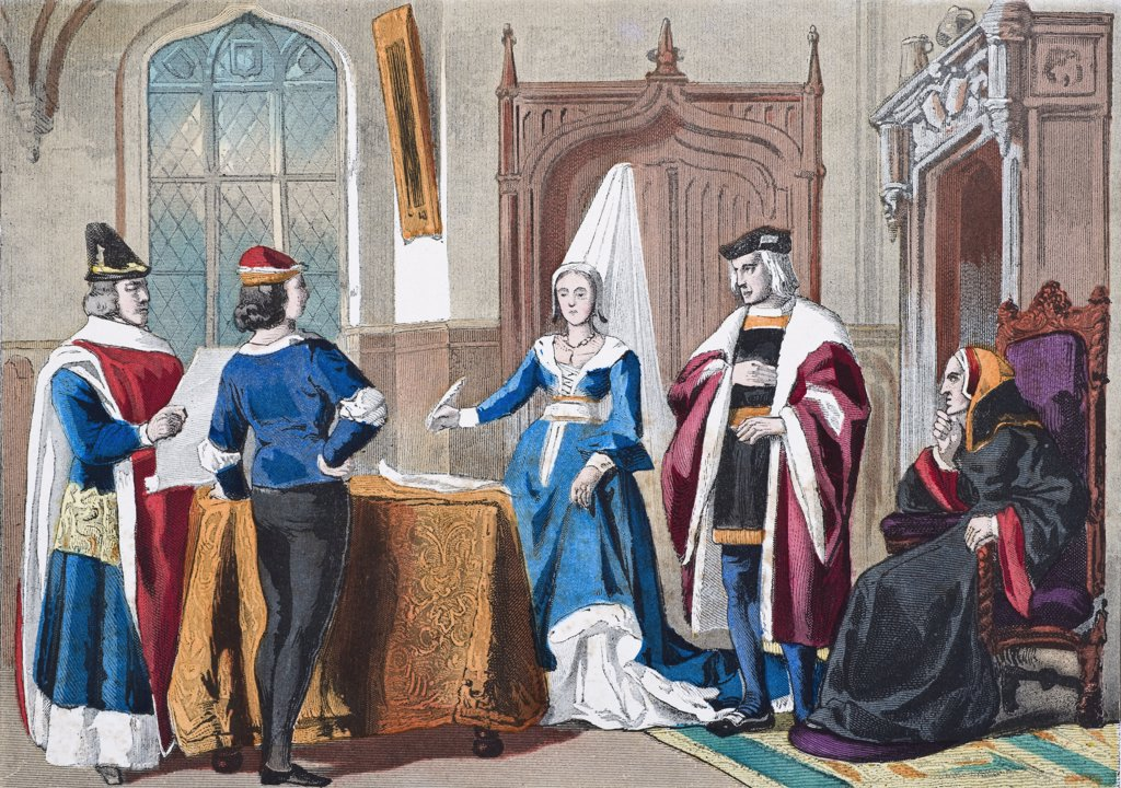 English costumes from late fifteenth century. From left, judge, gentleman, lady of rank, courtier, lady of quality. From The National and Domestic History of England by William Aubrey published London circa 1890 : Stock Photo