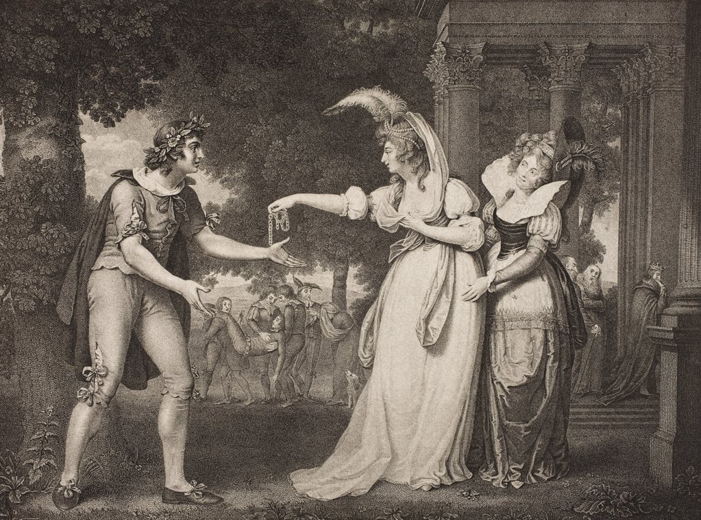 Stock Photo: 1899-38391 As You Like It. Act I. Scene II. Lawn before the Dukes Palace. Rosalind, Celia and Orlando. From The Boydell Shakespeare Gallery published late 19th century. After a painting by J Downman.