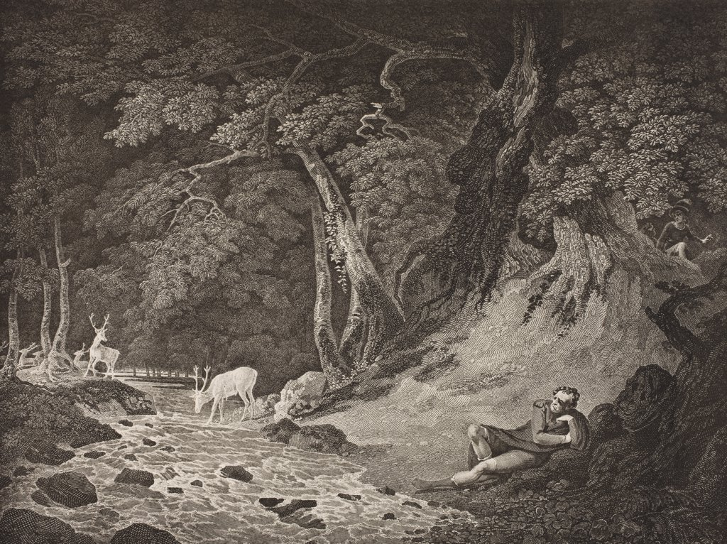 As You Like It. Act II. Scene I. The Forest of Arden. Jaques, Amiens and Lord. From The Boydell Shakespeare Gallery published late 19th century. After a painting by William Hodges. : Stock Photo