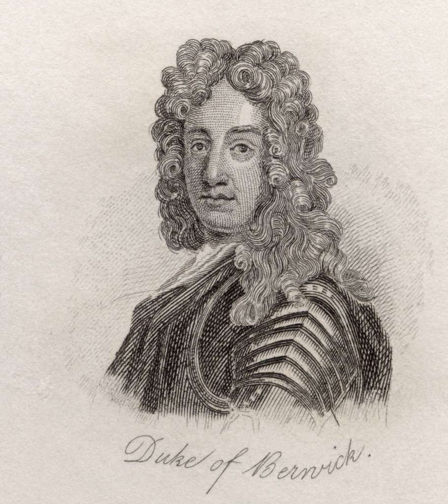 Stock Photo: 1899-38412 James FitzJames, 1st Duke of Berwick, 1670 - 1734. French military leader, illegitimate son of King James II of England. From the book Crabbs Historical Dictionary published 1825