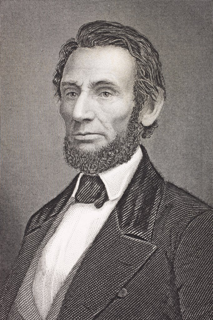 Abraham Lincoln 1809 - 1865. 16th President of the United States. From the book Gallery of Historical Portraits published c.1880.  : Stock Photo