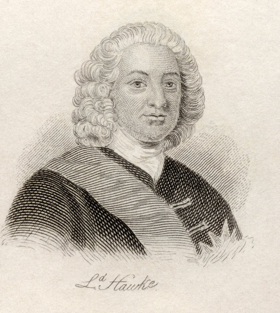 Stock Photo: 1899-38569 Edward Hawke, 1st Baron Hawke 1705 - 1781. English officer in the Royal Navy. From the book Crabb's Historical Dictionary published 1825.