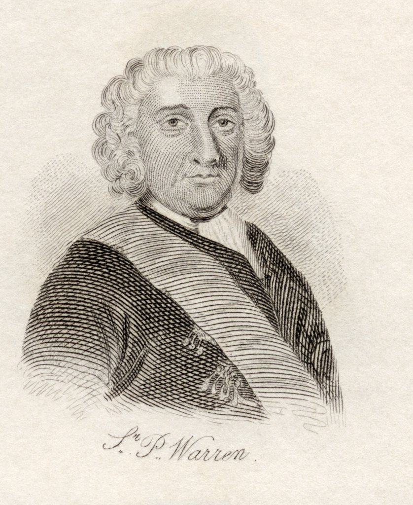 Admiral Sir Peter Warren, c.1703 - 1752. British naval officer. From the book Crabb's Historical Dictionary published 1825. : Stock Photo