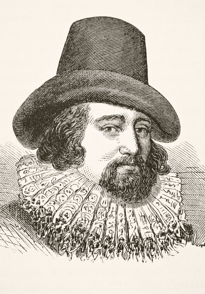 Stock Photo: 1899-38605 Francis Bacon 1st Viscount St Alban 1561 to 1626. English lawyer statesman essayist and philosopher. From The National and Domestic History of England by William Aubrey published London circa 1890