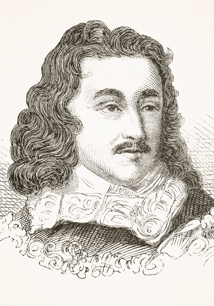 George Monck, 1st Duke of Albemarle 1608 to 1670. English soldier and politician. From The National and Domestic History of England by William Aubrey published London circa 1890 : Stock Photo