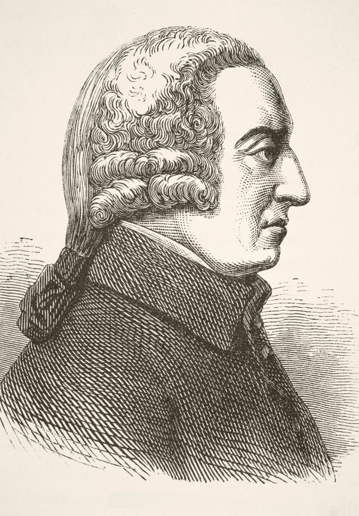 Stock Photo: 1899-38687 Adam Smith 1723 - 1790. Scottish social philosopher and economist. From The National and Domestic History of England by William Aubrey published London circa 1890