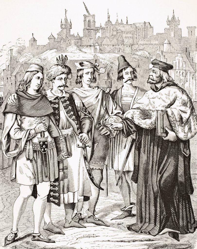 Rector of Prague University and Scholars from different Nations circa 15th century From Science and Literature in The Middle Ages by Paul Lacroix published London 1878 : Stock Photo