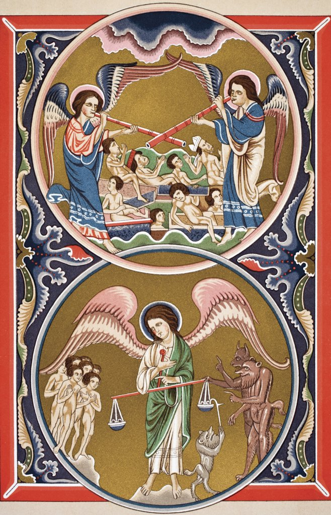 The Resurrection of the Dead and the Weighing of Souls in the Balance at the Last Judgement after a medieval miniature From Science and Literature in The Middle Ages by Paul Lacroix published London 1878 : Stock Photo