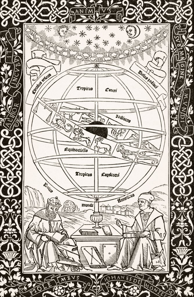 Ptolemy's System explained by Johannes Muller von Konigsberg (right) 1436 to 1476 German astronomer,astrologer,mathematician after wood engraving of 1543 From Science and Literature in The Middle Ages by Paul Lacroix published London 1878 : Stock Photo