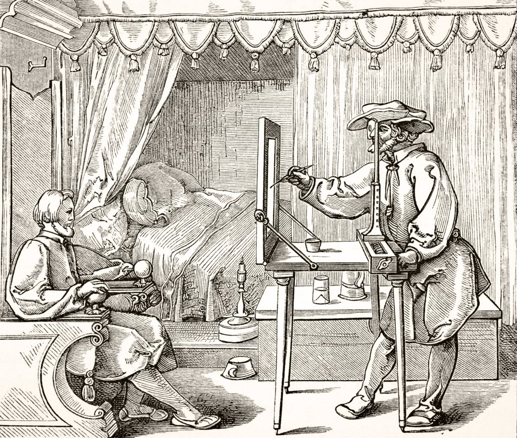 Stock Photo: 1899-38778 Instruments of Mathematical Precision for executing Portraits after a wood engraving by Albert Durer of 1535 From Science and Literature in The Middle Ages by Paul Lacroix published London 1878