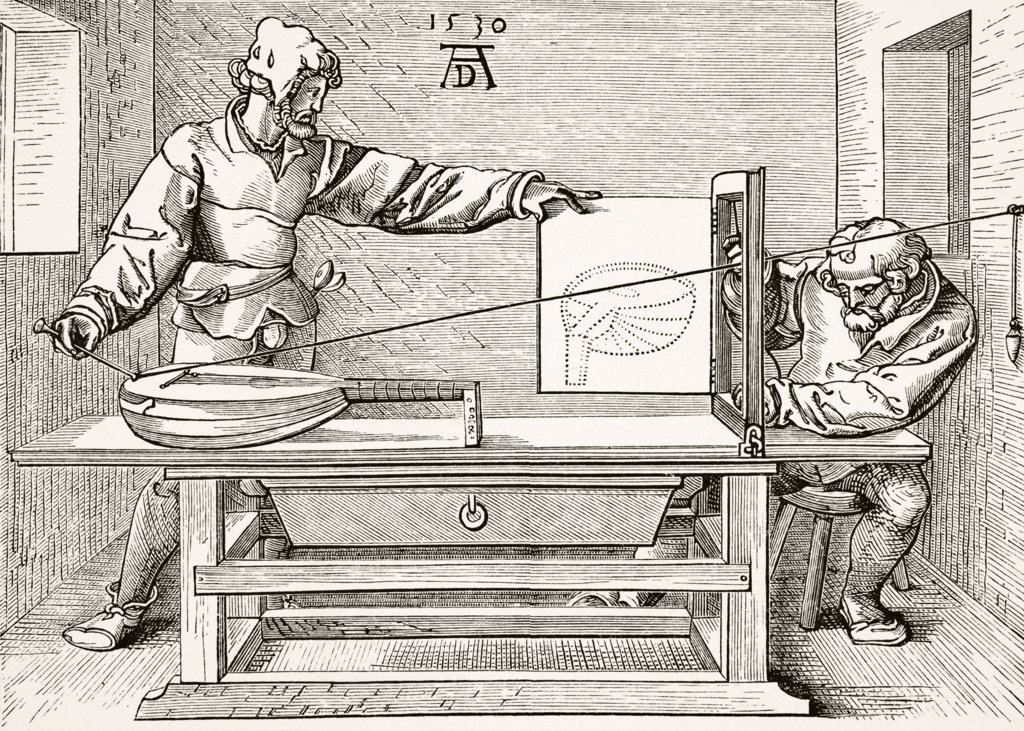 Stock Photo: 1899-38780 Instruments of Mathematical Precision for designing Objects in Perspective after a wood engraving by Albert Durer of 1530 From Science and Literature in The Middle Ages by Paul Lacroix published London 1878