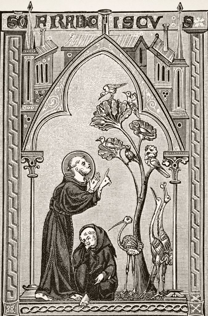 Stock Photo: 1899-38789 St Francis of Assisi talking to the birds. After miniature from 13th century Psalter. From Science and Literature in The Middle Ages by Paul Lacroix published London 1878