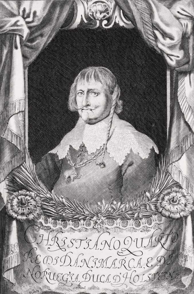 Christian IV of Denmark 1577 to 1648 King of Denmark and Norway Duke of Holstein After an engraving by Johann Alexander Boener : Stock Photo