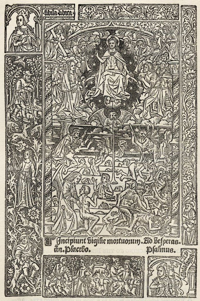 Facsimile of The Last Judgement from Heures a lusaige de Rome with device of Philippe Pigouchet printed Paris 1498 From A Catalogue of a Collection of Engravings Etchings and Woodcuts by Richard Fisher published 1879 : Stock Photo