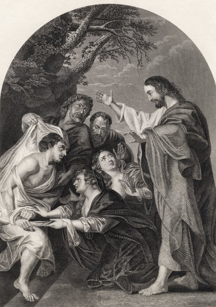 The Raising of Lazarus Engraved by S Allen From The National Illustrated Family Bible published c1870 : Stock Photo