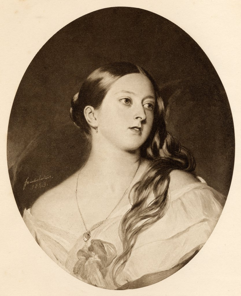 """Stock Photo: 1899-38954 Queen Victoria 1819-1901 Princess Alexandrina Victoria of Saxe-Coburg in 1843 From the picture by F. Winterhalter. From the book """"""""The Letters of Queen Victoria 1844-1853 Vol II""""""""published 1907."""