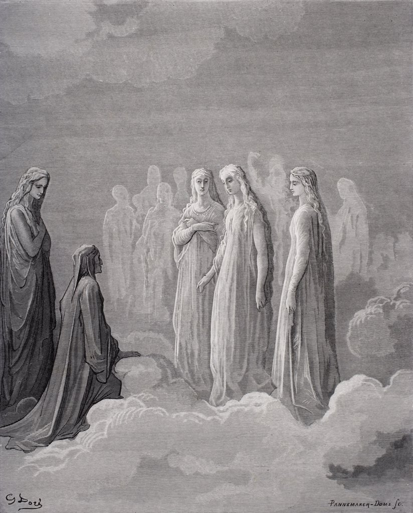 Stock Photo: 1899-39071 Illustration for Paradiso by Dante Alighieri Canto III lines 14 and 15 by Gustave Dore 1832-1883 French artist and illustrator