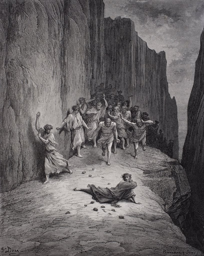 Stock Photo: 1899-39076 Engraving by Gustave Dore 1832-1883 French artist and illustrator for Purgatory by Dante Alighieri Canto XV lines 103 to 106