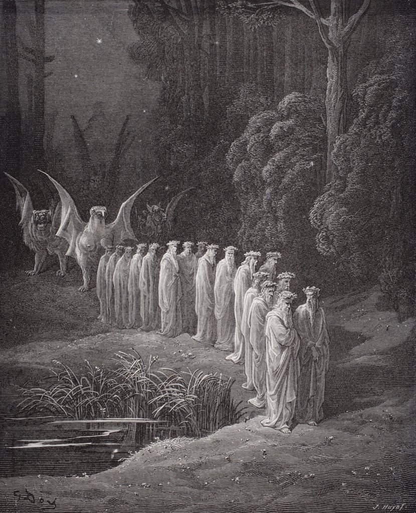 Stock Photo: 1899-39077 Illustration for Purgatorio by Dante Alighieri Canto XXIX lines 80 to 82 by Gustave Dore 1832-1883 French artist and illustrator