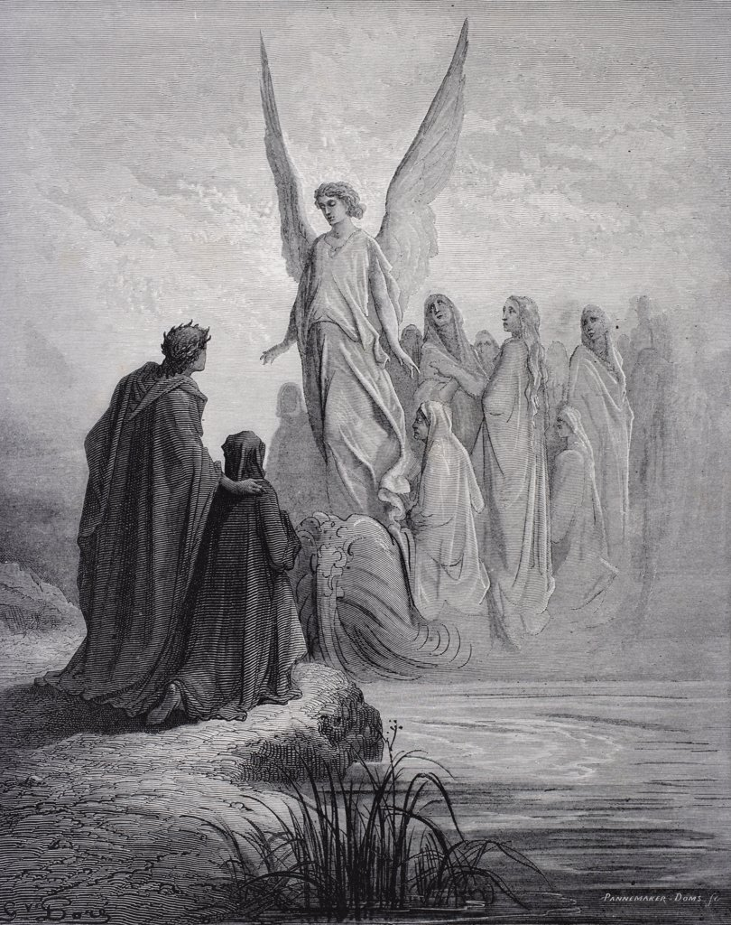Illustration for Purgatorio by Dante Alighieri Canto II lines 42 and 43 by Gustave Dore 1832-1883 French artist and illustrator : Stock Photo