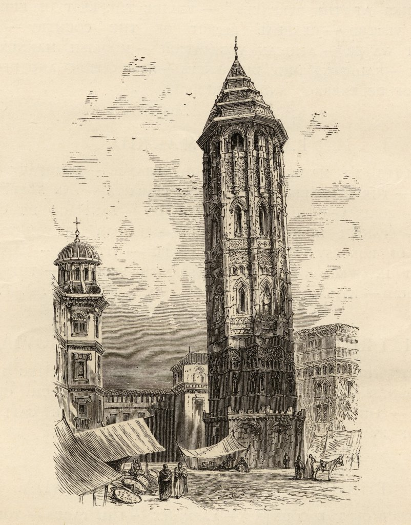 "Stock Photo: 1899-39099 Leaning Tower Saragossa, Spain.From the book """"Spanish Pictures"""" by the Rev Samuel Manning, published 1870."