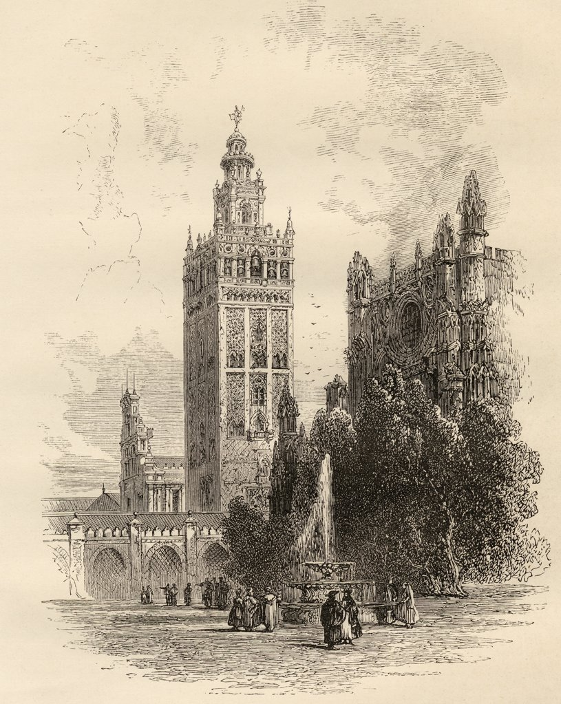 "The Giralda, Seville, Spain. From the book """"Spanish Pictures"""" by the Rev Samuel Manning, published 1870. : Stock Photo"