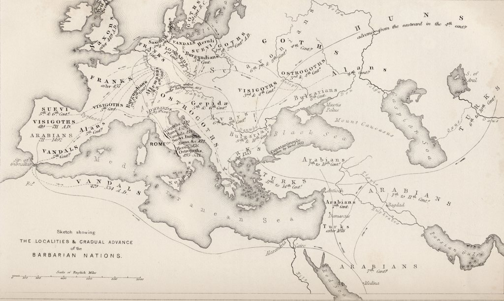 Stock Photo: 1899-39142 Map showing the gradual advance of the Barbarian Nations, drawn and engraved by W. Hughes.
