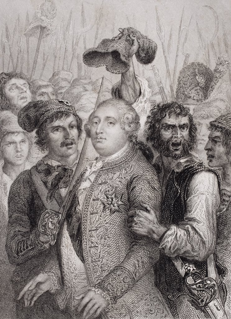 Stock Photo: 1899-39236 The People at the Tuileries, 20 June, 1792. Louis XVI 1754 1793. King of France 1774 1792. Engraved by J. Smith after Raffet.