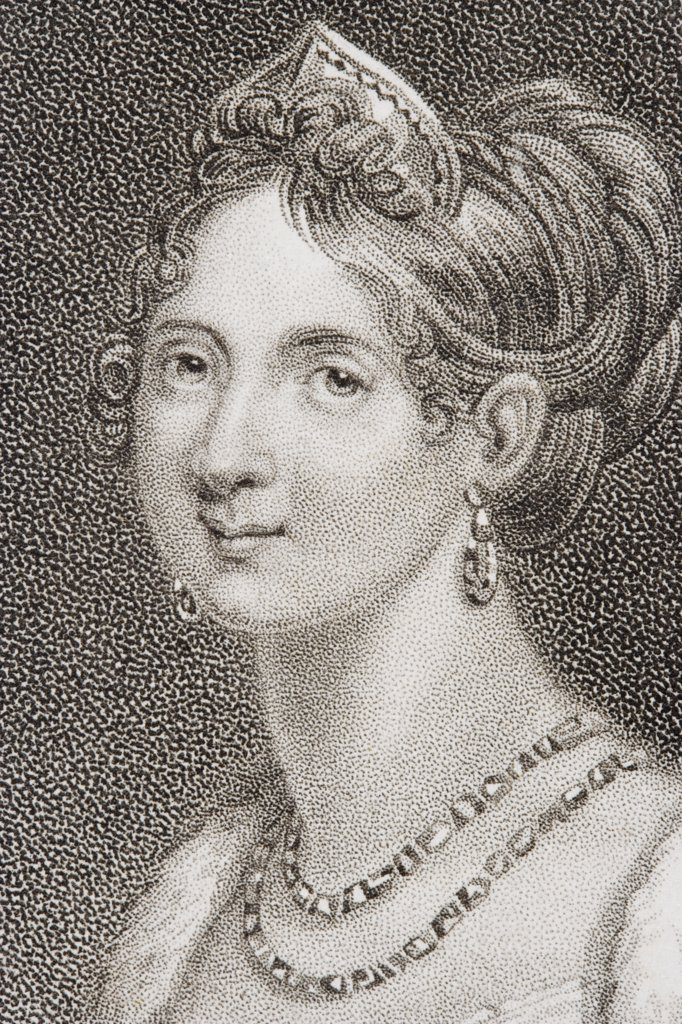 Stock Photo: 1899-39238 Marie Louise, Empress of the French, Duchess of Parma, Piacenza and Guastalla, 1791-1847. Second wife of Napoleon I. Engraved by Heath.