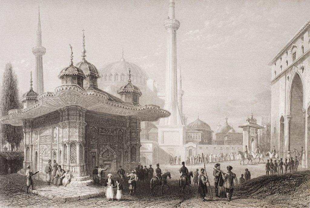 Fountain and square of St. Sophia, Istambul, Turkey. Engraved by T. Higham after W. H. Bartlett. : Stock Photo