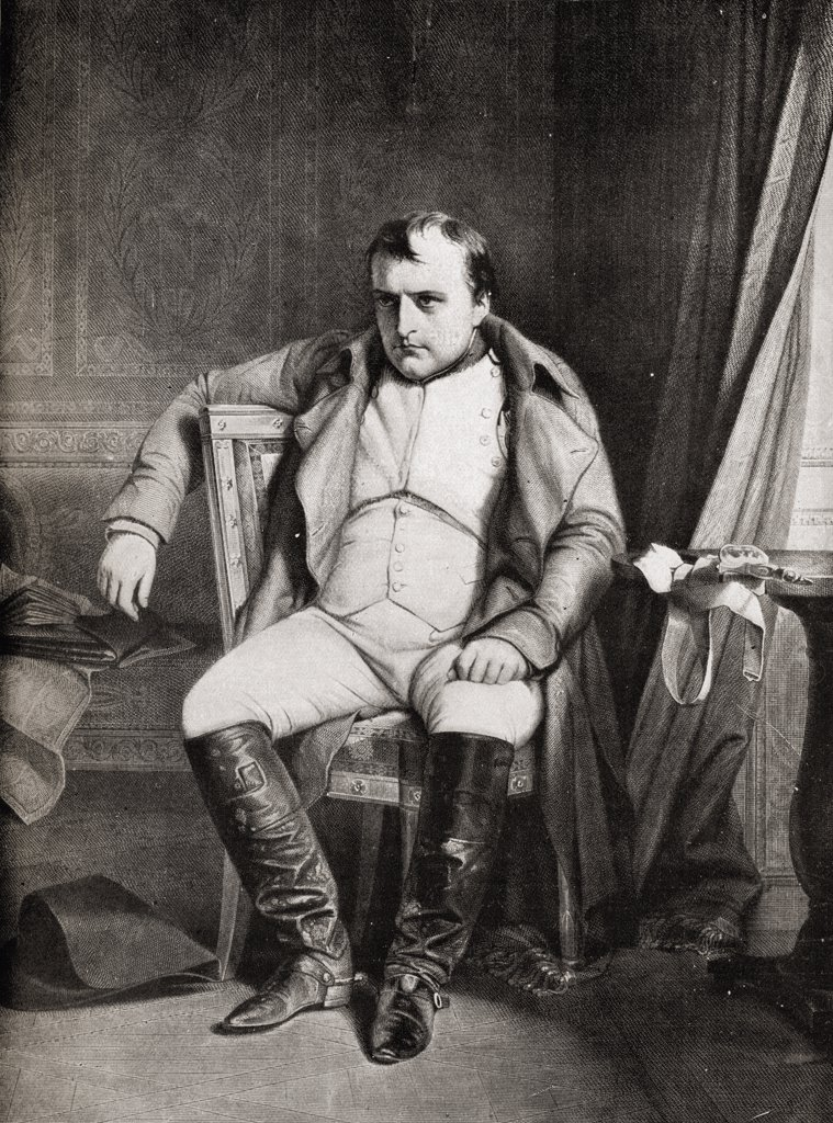 """Stock Photo: 1899-39295 Napoleon Bonaparte, 1769-1821. From the picture by Horace Vernet. From the book """"""""V.R.I. Her Life and Empire"""""""" by The Marquis of Lorne, K.T. now his grace The Duke of Argyll."""