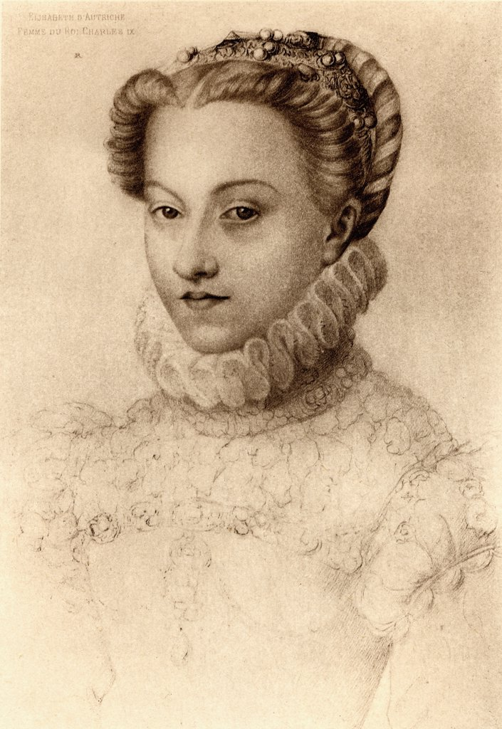 Elisabeth of Austria, Queen of France (1554-1592), daughter of Emperor Maximilian II and Mary of Austria, who married Charles IX of France in 1570. From an engraving after a drawing attritbuted to Janet : Stock Photo