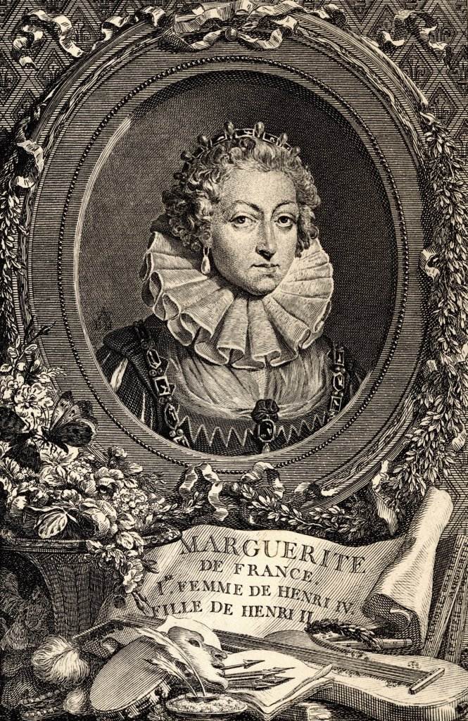 Queen Margot, Margeurite de Valois, 1553-1615. 1st wife of Henry IV, daughter of Henry II of France and Catherine de Medicis. From an engraving by Merger after the painting by Vincent. : Stock Photo