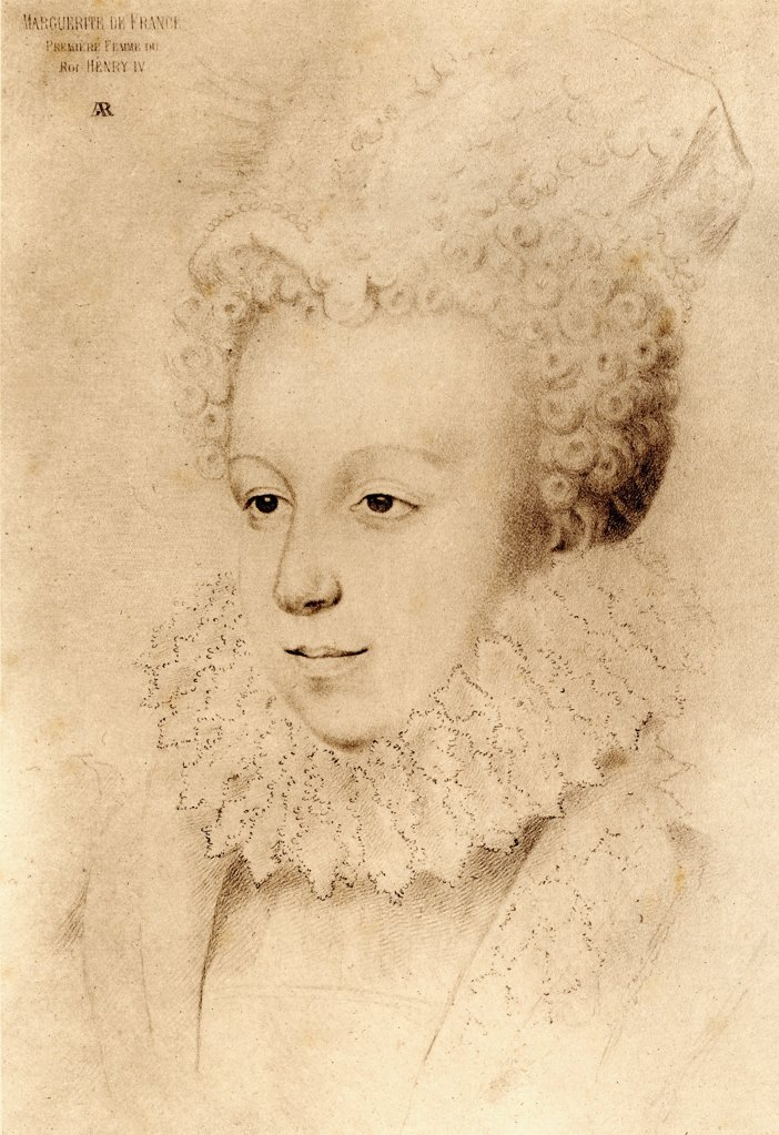 Queen Margot, Margeurite de Valois, 1553-1615 aged 20. 1st wife of Henry IV, daughter of Henry II of France and Catherine de Medicis. From an engraving after a drawing by an unknown artist. : Stock Photo