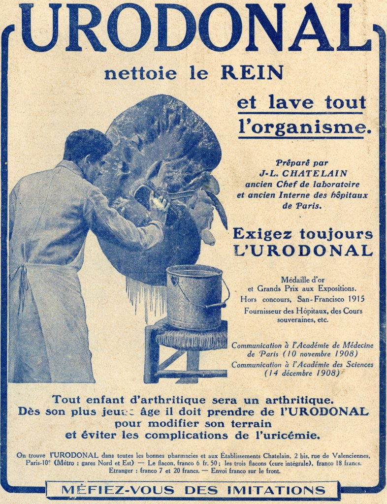 "French advertisement c.1916 for """"Urodonal"""" a kidney cleanser. : Stock Photo"