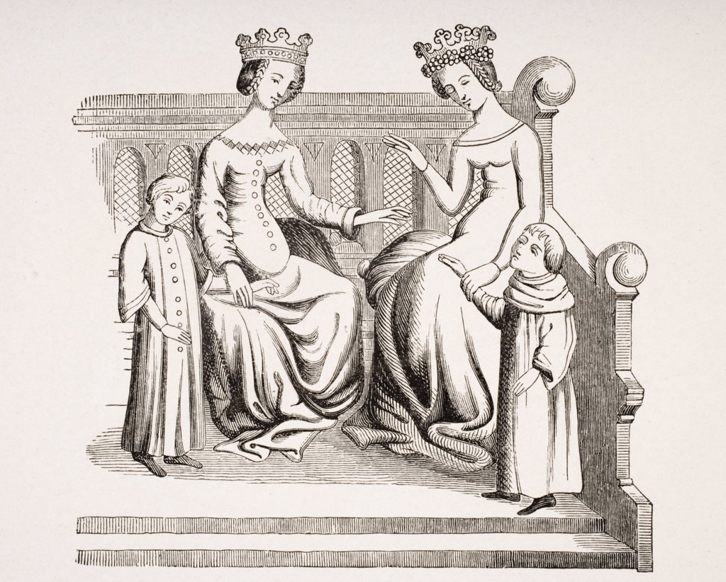 Dress of noble ladies and children in the 14th century. From miniature in Merveilles du Monde : Stock Photo