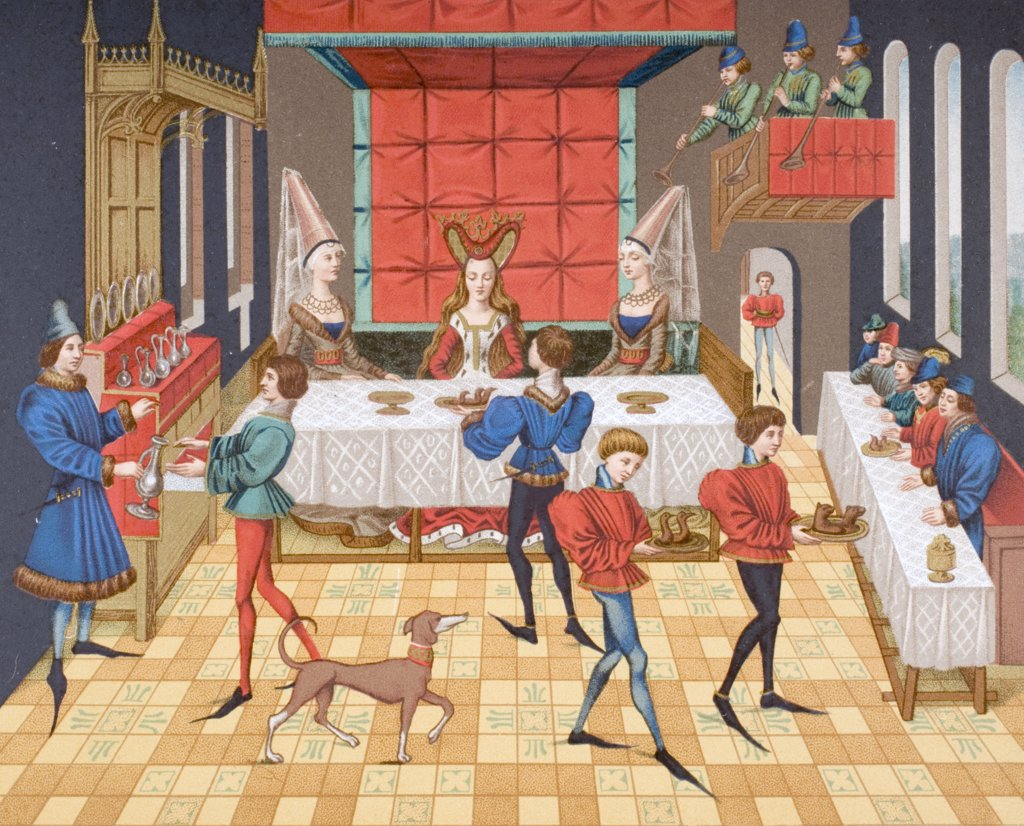 Table service of a lady of quality. 19th century reproduction of 15th century miniature from Romance of Renaud de Montauban : Stock Photo