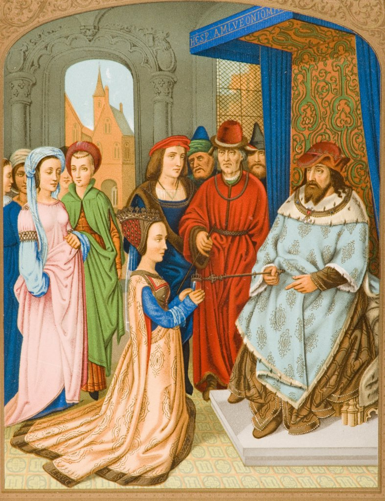 The Queen of Sheba before Solomon. 15th century costume. Facsimile of miniature from Breviary of Cardinal Grimaldi attributed to Memling in Library of San Marco Venice : Stock Photo