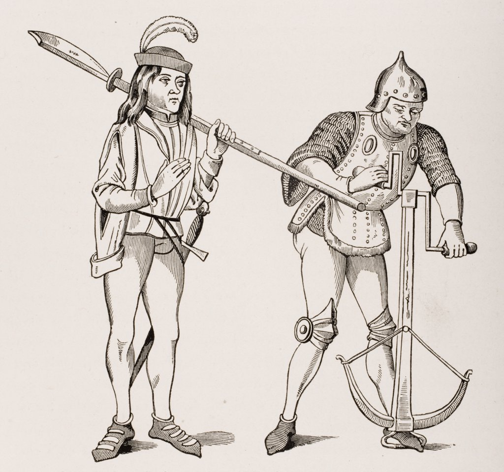 Varlet or Squire carrying thick bladed Halberd and Archer in fighting dress drawing crossbow string with double handled winch. From 15th century miniatures : Stock Photo